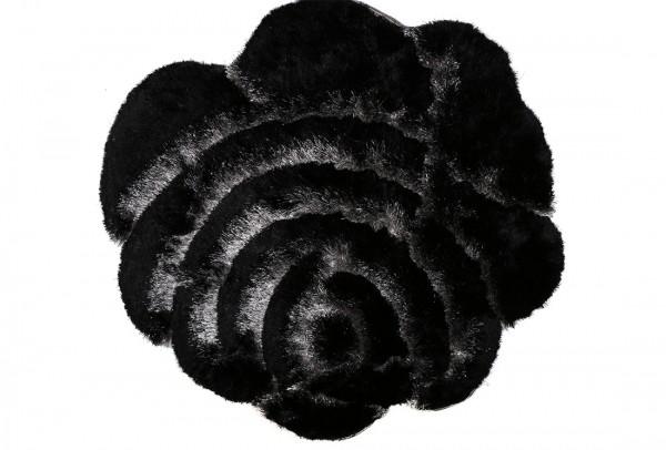 Bavary | Fußmatte | %100 Polyester | Schwarz | blumenförmig | by-rose-black