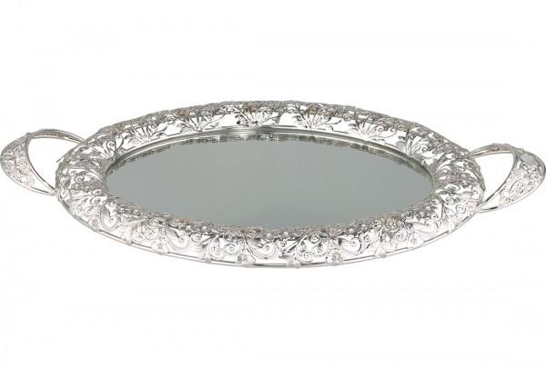 Bavary | Luxus | Servierplatte | Mit Spiegelglas | Silber | Oval | Aus Glas & Mikanit | By-mo-s