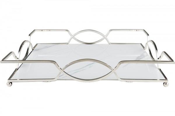 Bavary | Servierplatte | Serviertablett | Marmor Design | 37x27 cm | Silber | Weiß | By-me-ls