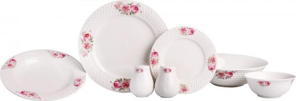 Bavary 27 Teiliges Rosen Verzierte Porzellan Tafelservice Set für 6 Personen | Weiß