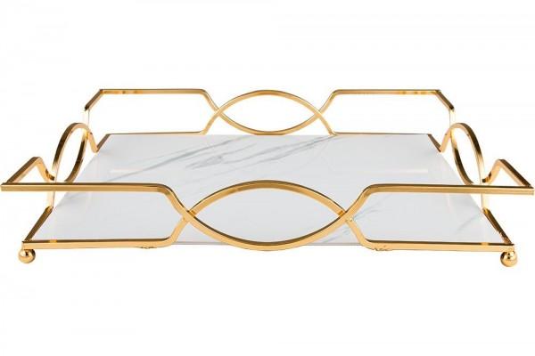 Marmor Desenli Tepsi | 37x27 cm | Altın-Beyaz | By-me-lg
