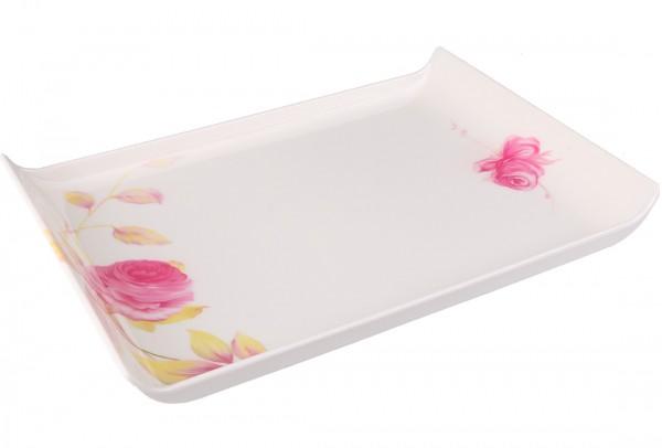Bavary | Servierplatte | Weiß | Viereckig | Aus Kunststoff | Blütenmuster | By-4604-2