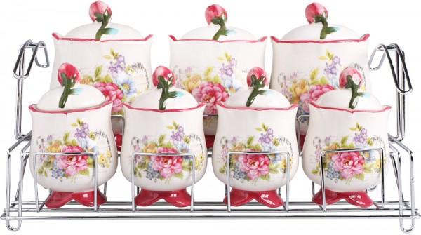 Bavary Rose Porzellan Gewürzset 15 Teilig | Pink | Blumen Design