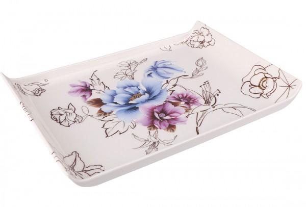 Bavary | Servierplatte | Weiß | Viereckig | Aus Kunststoff | Blütenmuster | By-4604-1