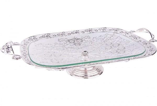 Bavary Elegance Cam Tepsi Yüksek Kalite | Gümüş | By-Wh-1646s