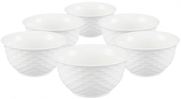Bavary 12 Parça Fine Porselen Çorba Kasesi Dalgalı | Beyaz | 12 Kişilik