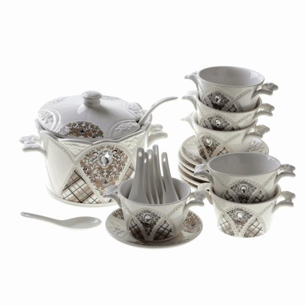 Bavary Fas 21 Parça Porselen Çorba Seti | CYDS011-21P-5
