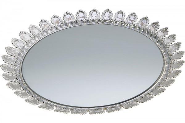 Bavary XL Aynalı Parlak Taşlı Gümüş Servis Tepsi | 45cm