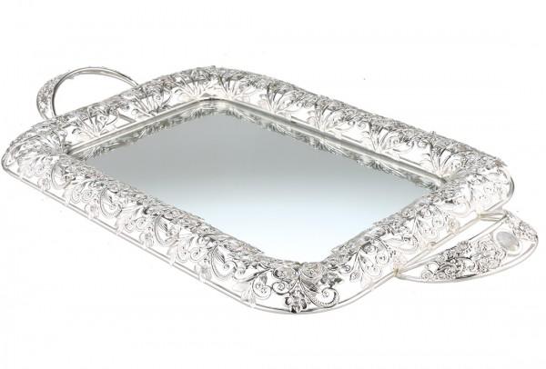 Bavary | Luxus | Servierplatte | Mit Spiegelglas | Silber | Viereckig | Aus Glas & Mikanit | By-ml-s