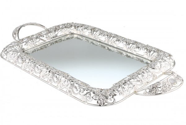 Bavary Aynalı Lüks Tepsi | Gümüş | By-ml-s