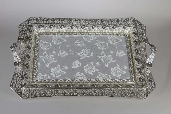 Bavary Servis Tepsisi Oryantal Çiçek Gümüş