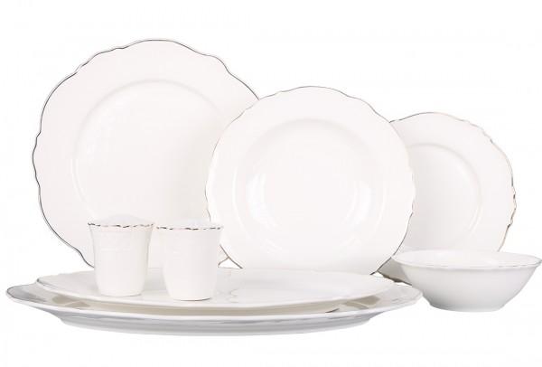 Bavary | 28 Teilig | Tafelservice | Teller-Set | Esservice | Tafel-Set | Porzellan | Weiß | Rund | 6 Personen | By-hyt439g