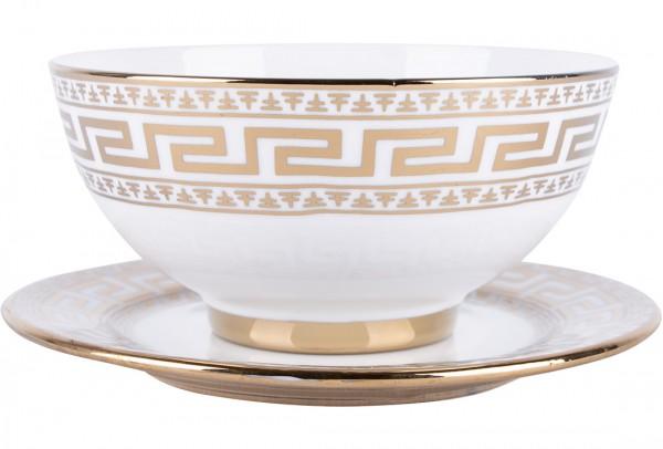 Bavary 12 Parça Porselen Çorba Kase Seti Altın Motif | 6 Kişilik | DE-1130-G
