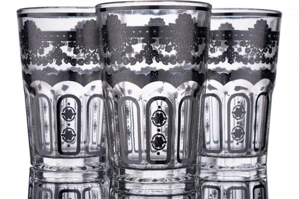 Bavary | Gemusterte Wasserglas Set | 12 Teilig | Glas | Silber | By-2307-4