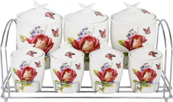 Bavary Fine Porselen Baharatlık Seti 15 Parça | Kırmızı | Gül Kelebek Desen