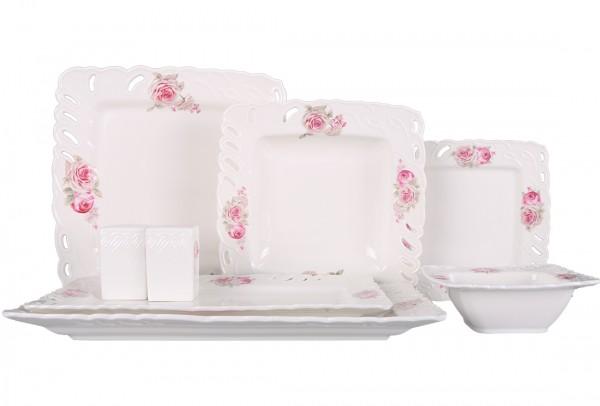 Bavary | 28 Teilig | Tafelservice | Teller-Set | Esservice | Tafel-Set | Porzellan | Weiß & Rosa | Karo | Blütenmuster | 6 Personen | By-hyt429a