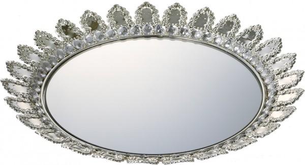 Bavary Spiegel mit glänzende Steinen Silber Serviertablett | 30cm