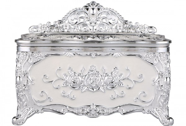 Bavary Peçete Kutusu | Gümüş & Beyaz | By-Box-Silver