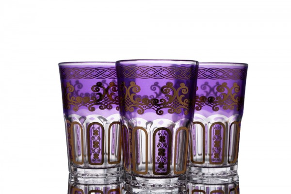 Bavary | Gemusterte Wasserglas Set | 12 Teilig | Glas | Lila | Gold | By-2307-9