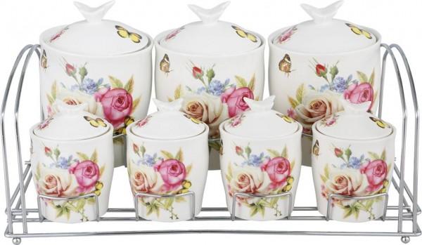 Bavary Fine Porselen Baharatlık Seti 15 Parça | Pembe | Gül Kelebek Desen