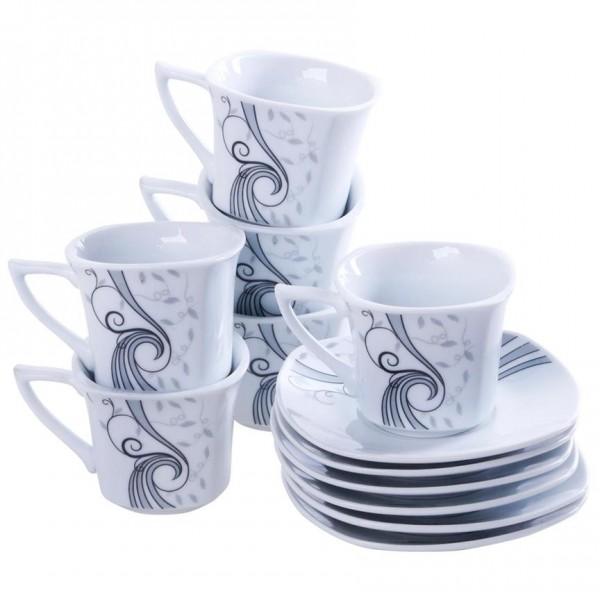 Bavary 12 Parça Desenli Kahve Fincan Seti - Kutu Hediyeli
