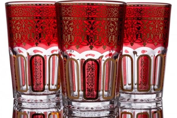 Bavary | Desenli Bardak | 12 Adet | Kırmızı-Altın | By-2307-2