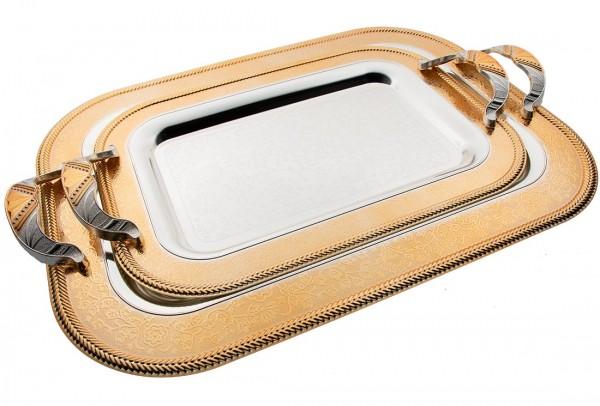 Bavary İkili Elegance Tepsi Yüksek Kalite | Gümüş Altın | By-2214el-2sg-mh65g