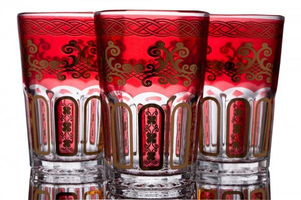 Bavary | Desenli Bardak | 12 Adet | Kırmızı-Altın | By-2307-8