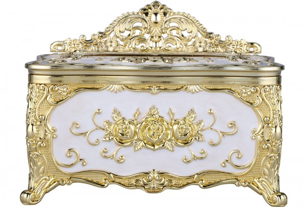 Bavary Peçete Kutusu | Altın & Beyaz | By-Box-Gold