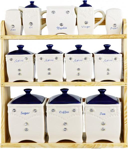Bavary 12er Porzellan Gewürzdosen Set mit Holz Stand | Creme | Marineblau