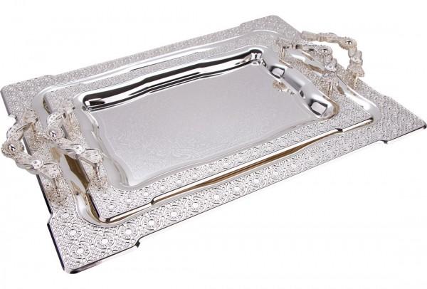 Bavary İkili Elegance Tepsi Yüksek Kalite | Gümüş | By-2214dl-mh79