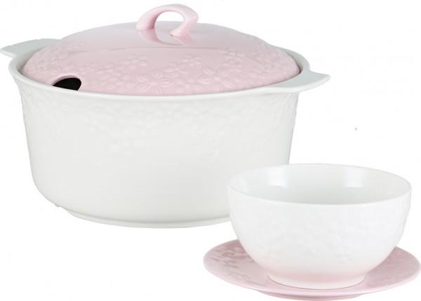 Bavary Fas 15 Parça Porselen Çorba Seti | Beyaz Pembe | 6 Kişilik | B5
