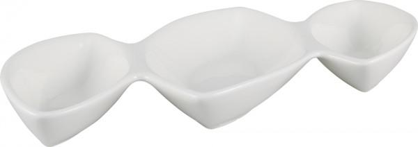 Bavary 3 Abteilung Fine Porzellan Snack Schale | Weiß