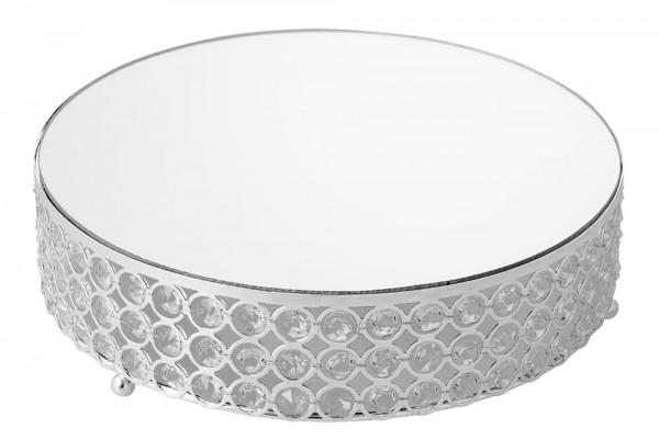 Bavary Dekorativer Serviertablett mit Strassteinen und Spiegel 30x8 cm Silber