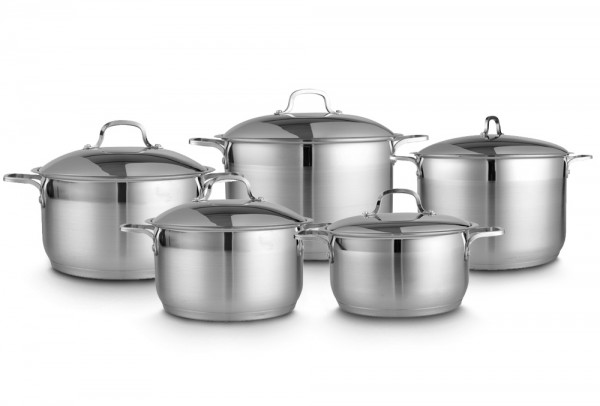 Bavary 5'li XXL Tencere Seti Paslanmaz Çelik | Gümüş | İndüksiyon | Se-cm004