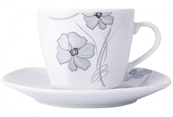 Bavary | 6er Kaffeetassen-Set | Porzellan | 12 Teilig | Weiß | Grau | A13411-xL