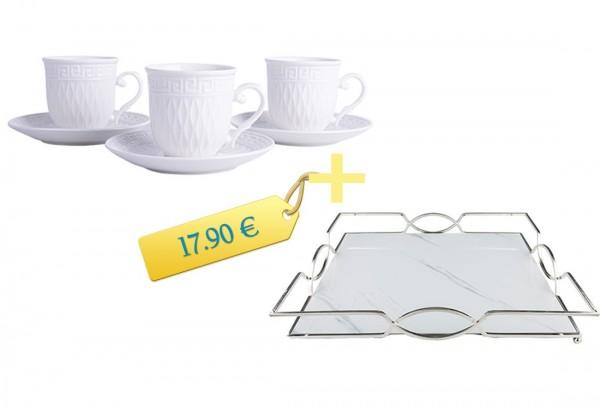 Espressotassen Set mit Servierplatte | 6 Personen | 12 Teilig | Mamor Design | Silber | Weiß | By-me-XLS-By-alz-p180027