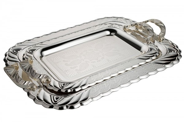 Bavary | 2li Tepsi Seti | Metal | Gümüş | By-2212al-2s-mh65