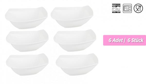 Bavary XL Servis Kase Seti | 6 Adet | Kare | 23 cm | 750 ml | Beyaz