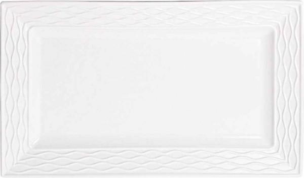 Bavary 2 Teiliges XL Porzellan Servier Platte 46cm | Weiß | Hyt579l