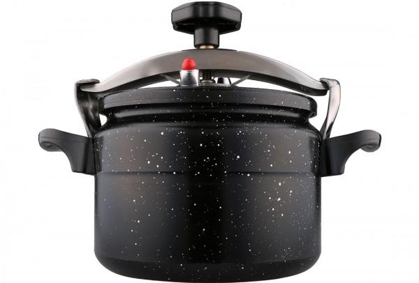 Bavary | Schnellkochtopf | Dampftopf | 6 Liter | Schwarz | Aus Aluminium & Granit | By-ctc22-6l