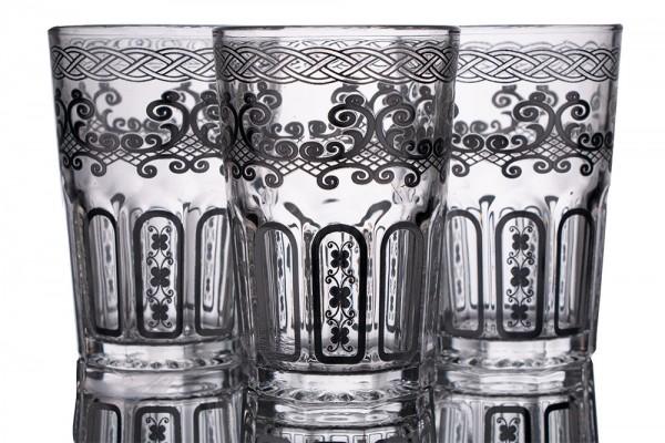 Bavary | Desenli Bardak | 12 Adet | Gümüş | By-2307-7
