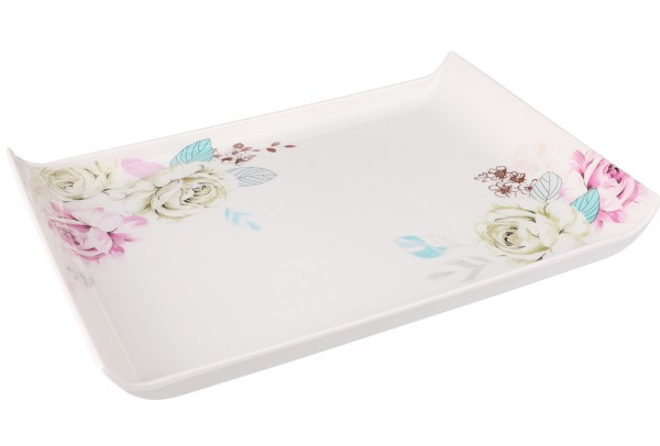 Bavary | Servierplatte | Weiß | Viereckig | Aus Kunststoff | Blütenmuster | By-4604-3