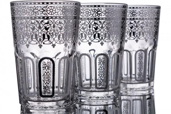 Bavary | Desenli Bardak | 12 Adet | Gümüş | By-2307-1