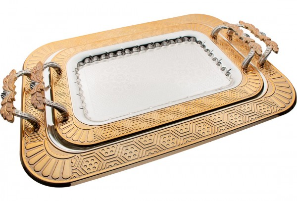 Bavary İkili Elegance Tepsi Yüksek Kalite | Gümüş Altın | By-2214L-2sg-mh79g