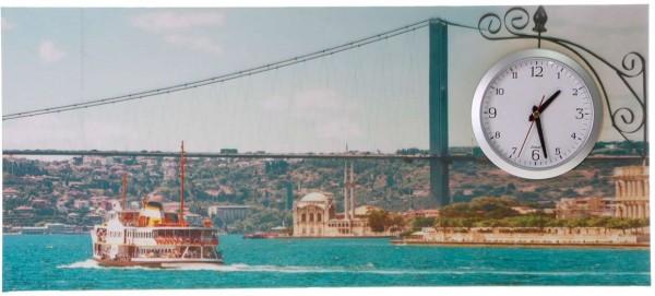 İstanbul Boğaz Manzarası Tablo Duvar Saati 87cm