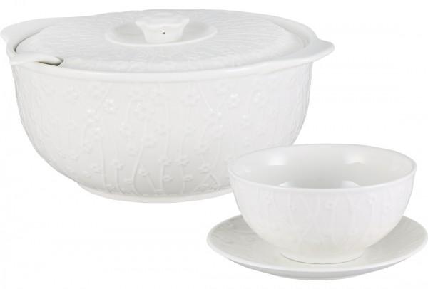 Bavary Fas 15 Parça Porselen Çorba Seti | Beyaz | 6 Kişilik | B7