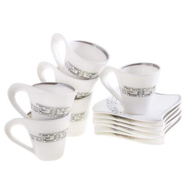 Kaffeetassen Set 12Tlg Cappuccino Latte Milchkaffee 6 Personen Tassen Strasssteine