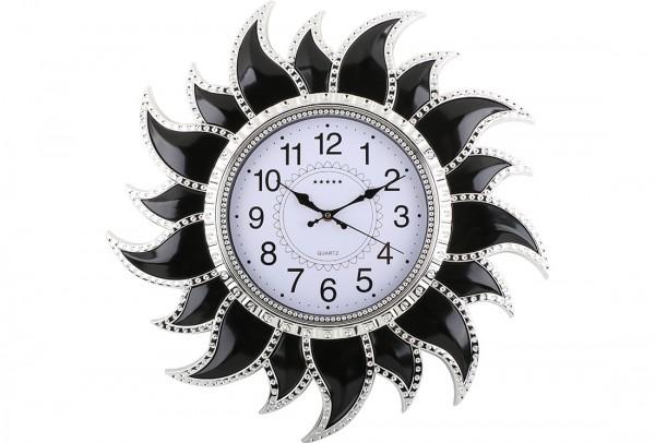 Bavary Duvar Saati 54x54cm | Güneş | Siyah | By-ne-878-black