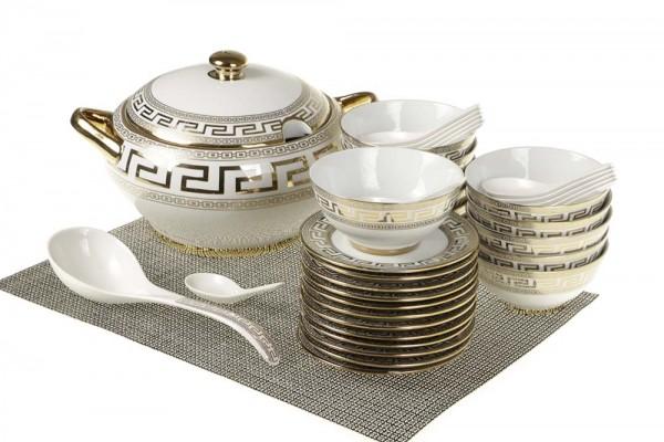 Bavary Fas 39 Parça Porselen Çorba Seti Altın Motif | 12 Kişilik | DE-1200G
